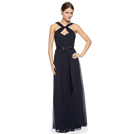 Debut - Navy blue twist neck maxi occasion dress