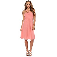 Debut - Coral ruched bodice halter midi dress