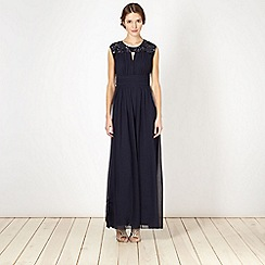 Debut - Navy sequin chiffon pleat maxi dress