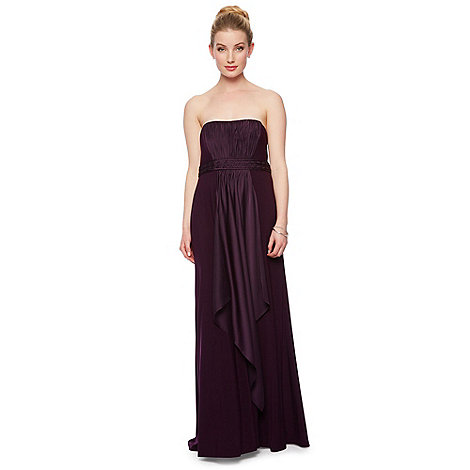 Debut - Purple satin mix bandeau jersey dress