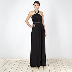 Debut - Black embellished waist long jersey maxi dress