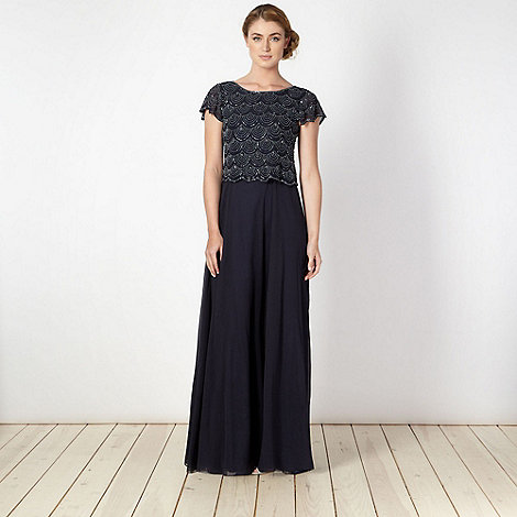 Debut - Navy scalloped embellished maxi ball gown dress