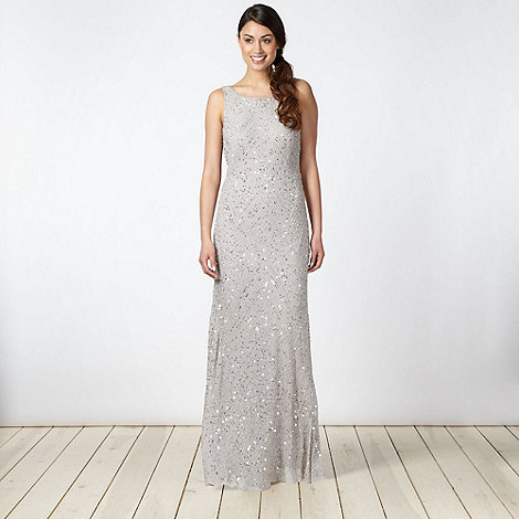 Debut - Silver chevron embellished maxi dress