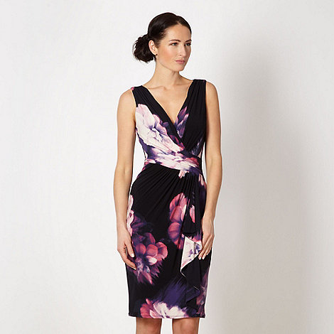 Debut - Black floral waterfall ruched dress