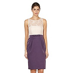 Debut - Dark purple textured lace bodice shift dress