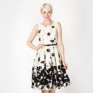 Black monochrome floral border prom dress