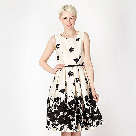Debut - Black monochrome floral border prom dress