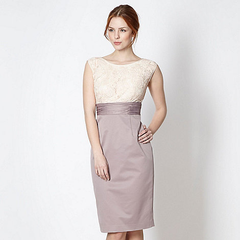 Debut - Taupe lace shift dress