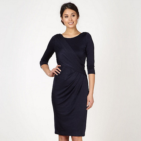 Debut - Navy textured wrap front dress