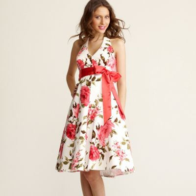 White rose print halter neck dress