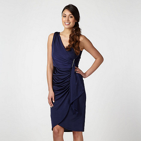 Debut - Navy fitted V neck midi dress