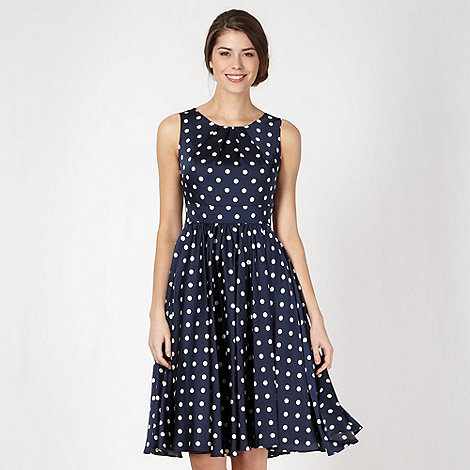 Debut - Navy spotted satin prom dress