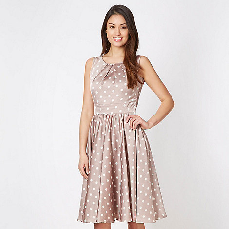 Debut - Taupe polka dot prom dress