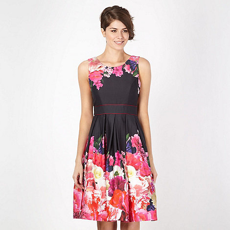 Debut - Black floral border prom dress