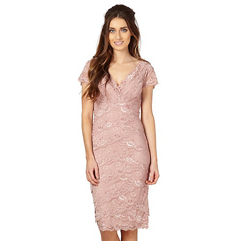 Debut - Pink lace wrap shift dress