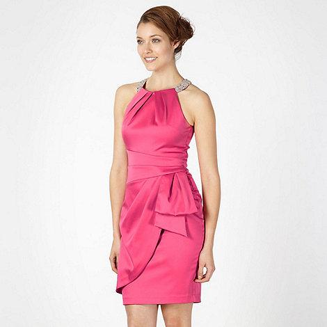 Debut - Pink satin high neck dress