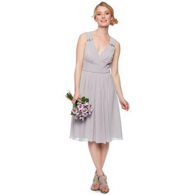 Designer light grey embellished shoulder midi dress