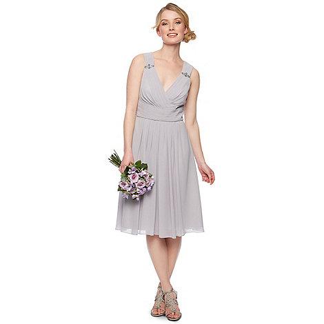 No. 1 Jenny Packham - Designer light grey embellished shoulder midi dress