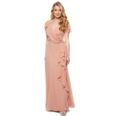 Designer dark peach drape front maxi dress