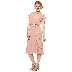 No. 1 Jenny Packham - Designer dark peach drape front dress