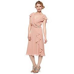 No. 1 Jenny Packham - Designer dark peach drape front dress