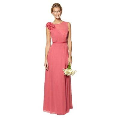 Designer dark rose flower applique maxi dress