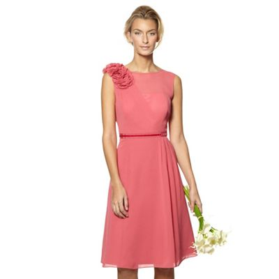 Designer dark rose flower applique midi dress