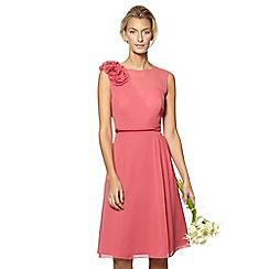 No. 1 Jenny Packham - Designer dark rose flower applique midi dress