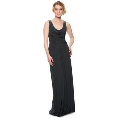 Designer dark grey embellished maxi dress
