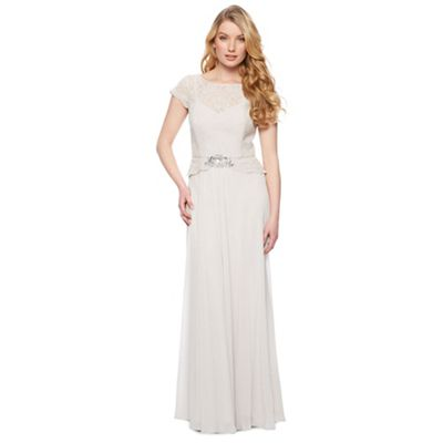 Designer light grey lace bodice maxi dress