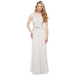 No. 1 Jenny Packham - Designer light grey lace bodice maxi dress
