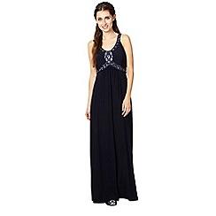 No. 1 Jenny Packham - Designer dark blue embellished jersey maxi dress