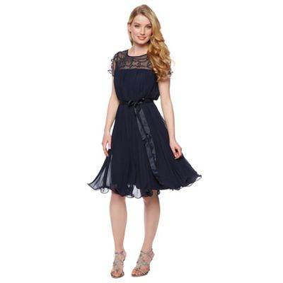 Designer navy pleated embellished dress