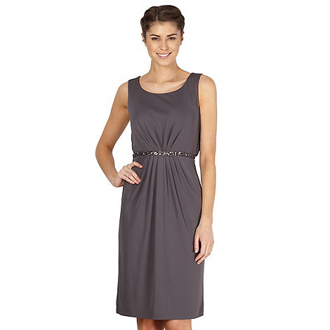 No. 1 Jenny Packham - Designer dark grey embellished waist dress