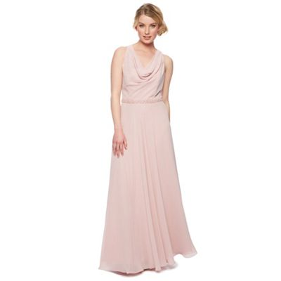 Designer rose pink embellished waist maxi dress