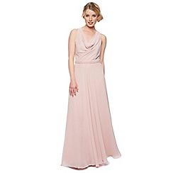 No. 1 Jenny Packham - Designer rose pink embellished waist maxi dress