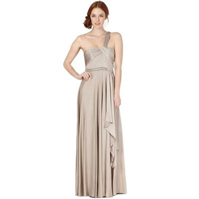 Debut Beige metallic one shoulder maxi dress - . -
