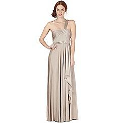 Debut - Beige metallic one shoulder maxi dress