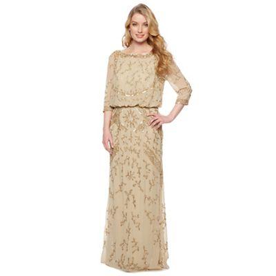 Designer gold bead embellished maxi dress
