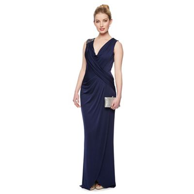 Designer navy embellished shoulder maxi dress