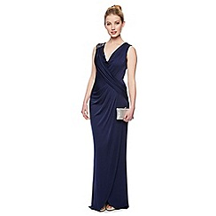 No. 1 Jenny Packham - Designer navy embellished shoulder maxi dress