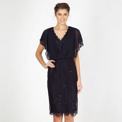 Designer dark blue lace sequinned shift dress