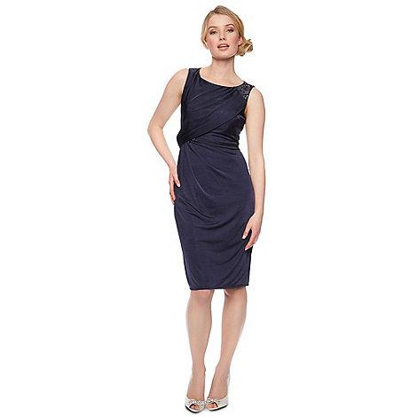 No. 1 Jenny Packham - Designer navy embellished shoulder midi dress