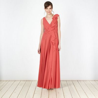 Designer dark coral frill detail maxi dress