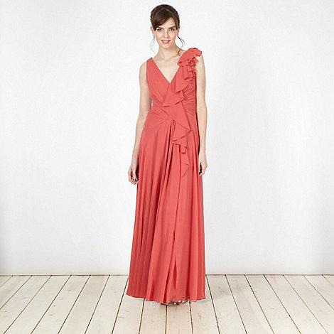 No. 1 Jenny Packham - Designer dark coral frill detail maxi dress