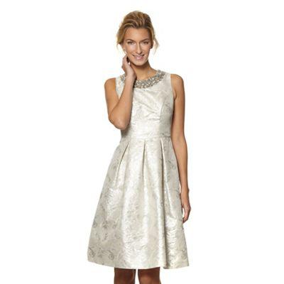 Designer metallic jacquard prom dress
