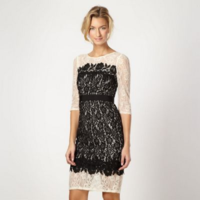 Designer black lace overlay shift dress