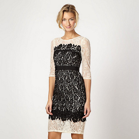 Pearce II Fionda - Designer black lace overlay shift occasion dress
