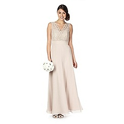Debut - Gold lace trim maxi occasion dress