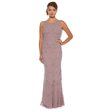 Debut - Lilac beaded scallop maxi occasion dress